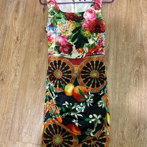D&G midi dress, S size, colorful print, silk